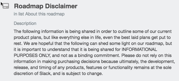 Disclaimer in Slack Platform Roadmap for Developers