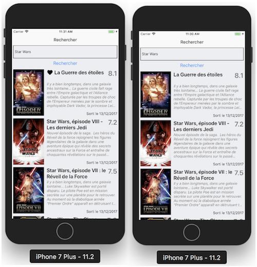 Vue recherche film en favoris (à gauche), non favoris (à droite)