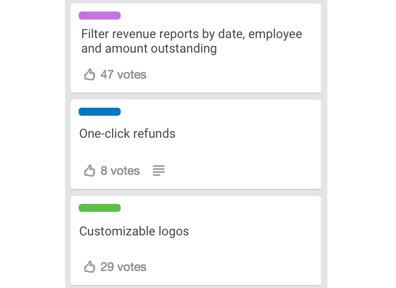 A Trello list showing cards with votes and labels