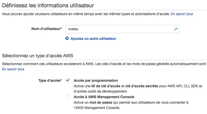 Autorisez votre utilisateur à accéder à AWS par programmation