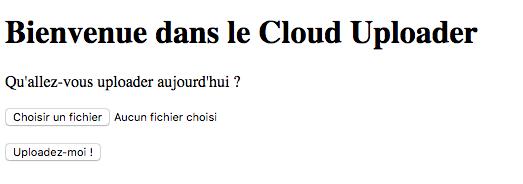 Page d'accueil du Cloud Uploader