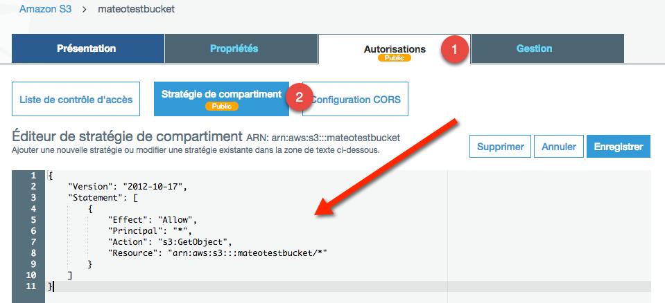 Insérez votre policy au format JSON pour l'activer !