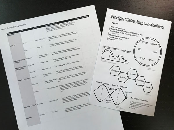 Print out of a spread sheet agenda, and half-sheet agenda for participants with diagrams and simple breakdown of activities.