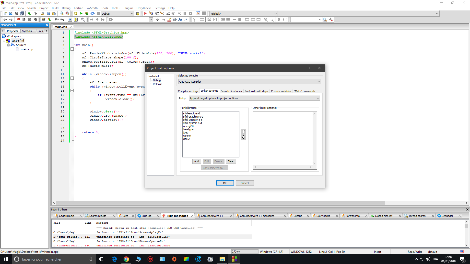 Sfml par kkabu page 1 openclassrooms - Code erreur s04 03 ...