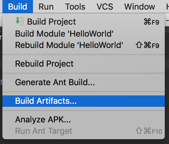 Build > Build Artifacts...
