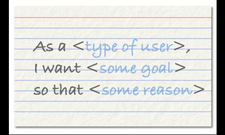 A user story written on an index card