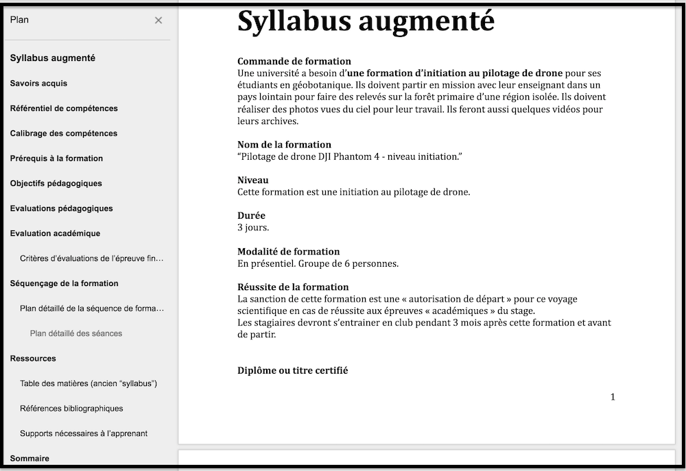 Exemple de syllabus augmenté :