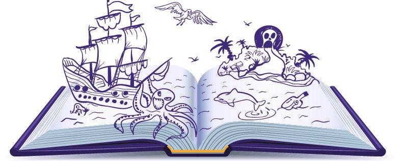 Livre ouvert avec illustrations dessinées qui racontent une histoire