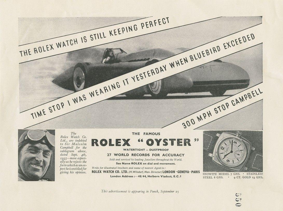 Campagne Rolex lors du record de vitesse par Malcolm Campbell en 1935