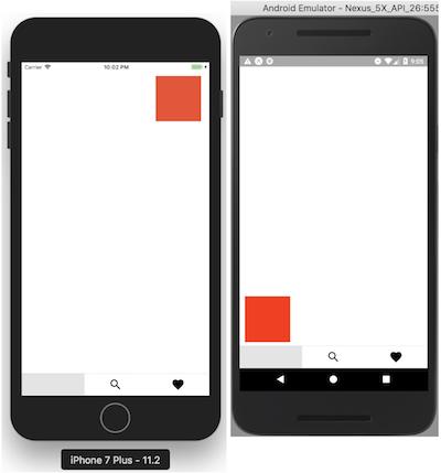 PanResponder iOS / Android où on déplace le carré rouge où on veut