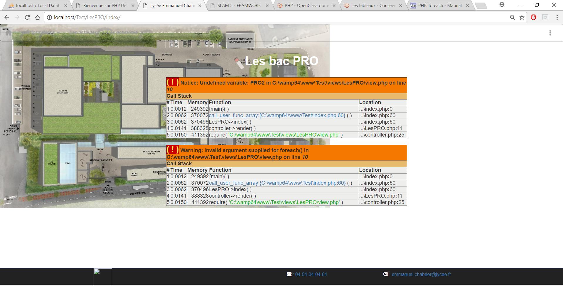 Erreur php sur un foreach des erreurs de variable dans - Code erreur s04 03 ...