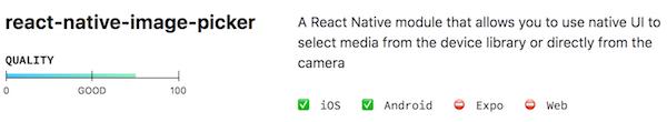 Librairie react-native-image-picker sur le site Native Directory