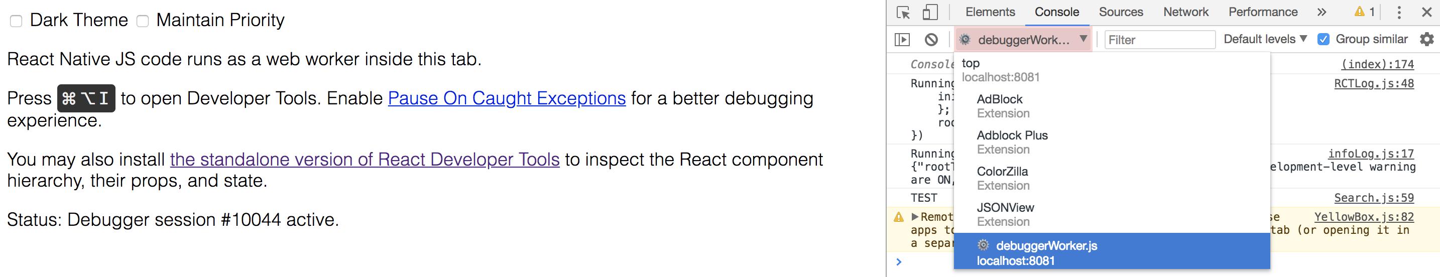 Sélection du debugger de Chrome Developer Tools
