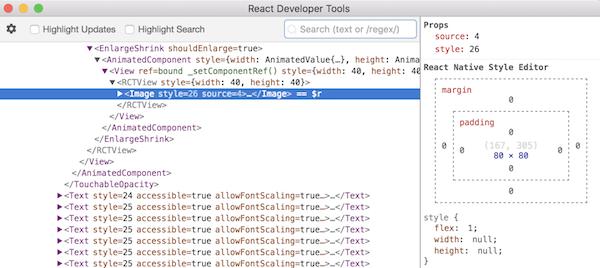 Inspector sur un élément graphique avec React Developer Tools