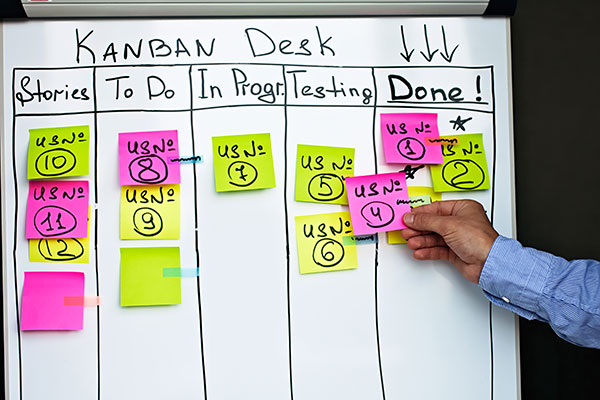 Sticky notes divided into different categories in order do know what needs to be done, what is in progress, and what has been completed. This system works by hand without fancy digital tools.