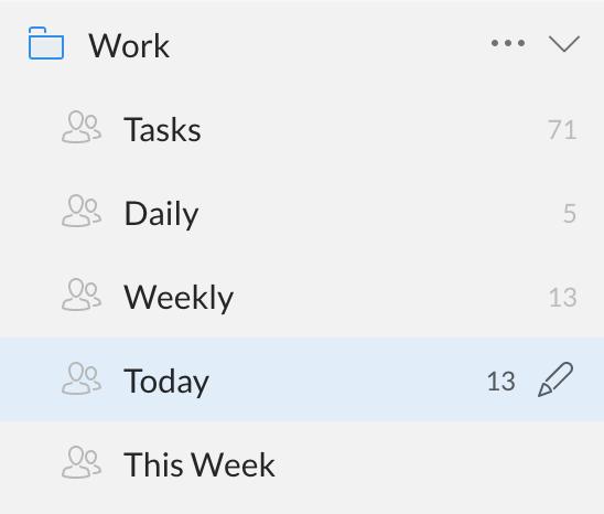 Screenshot of folders used in Wunderlist app.