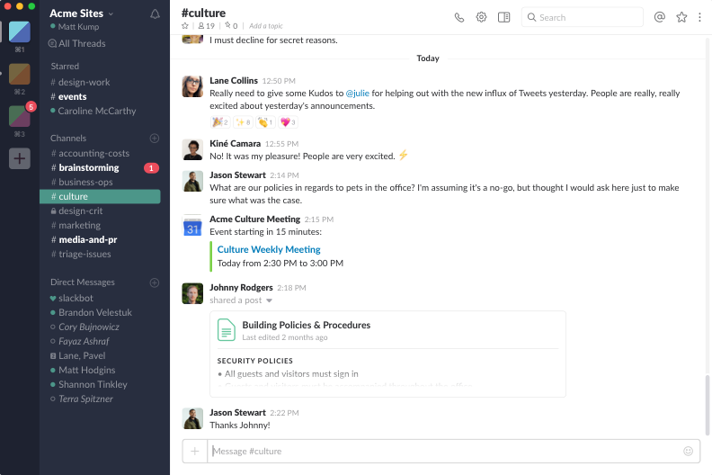View of what Slack screen conversations look like to users.