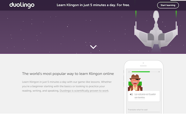 Screenshot of Duolingo Klingon offering.