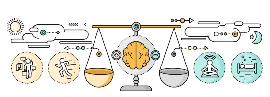 Illustration of a balance to reflect different sides of psychology.