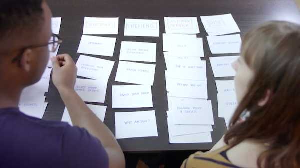 Screenshot from course that introduced card sorting. You see the back of two people working with a set of notecards in order to organize them in a way that makes sense to the user.