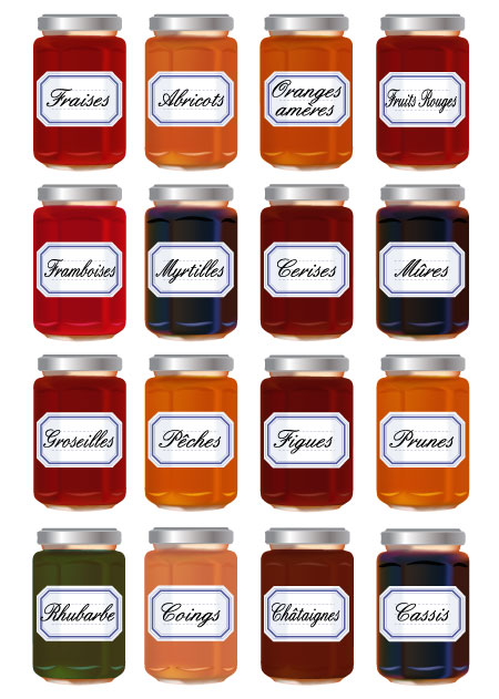 Jars of jam with different flavors.