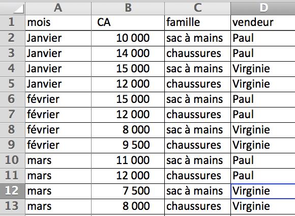 Tableau de données sur lequel réaliser le TCD