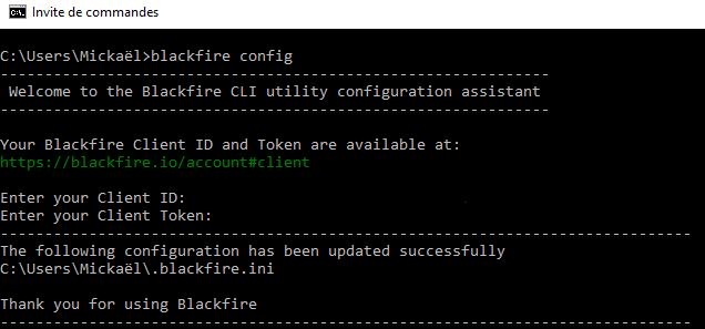 Capture d'écran de la configuration du Client Blackfire sur Windows