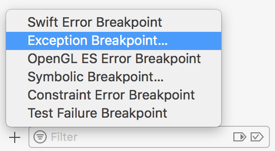Adding exception breakpoint