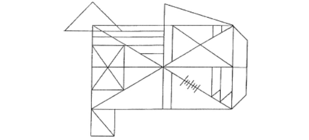 Figure géométrique avec que des traits droits en noir et blanc.