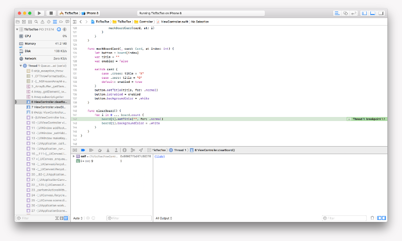 Stopping at a breakpoint in Xcode