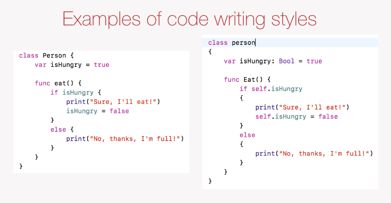 Example of different code styles