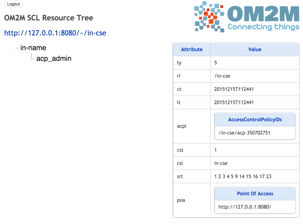 Interface Web IN-CSE: ressource cseBase in-cse