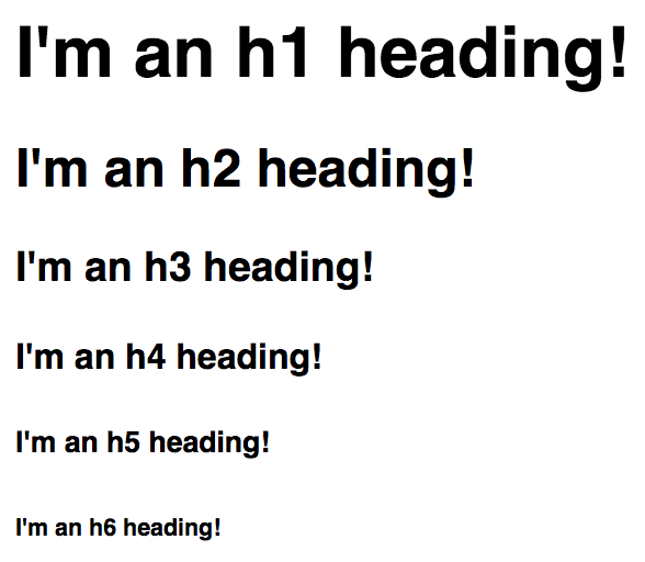 h1, h2, h3, h4, h5, and h6 headings, arranged from biggest (h1) to smallest (h6)