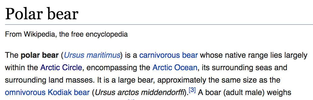 Screenshot from the Wikipedia article on polar bears