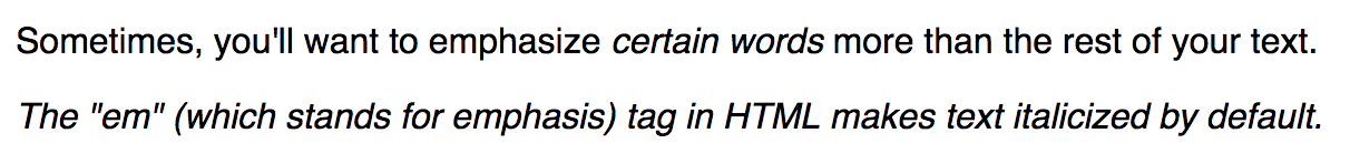 Text with 'em' tags added, resulting in an italicized appearance by default