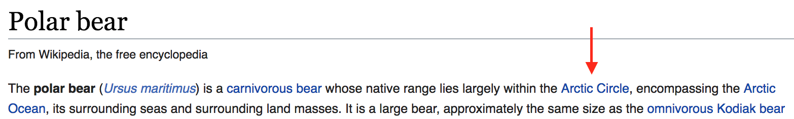 A red arrow pointing at a link within the Wikipedia article on polar bears