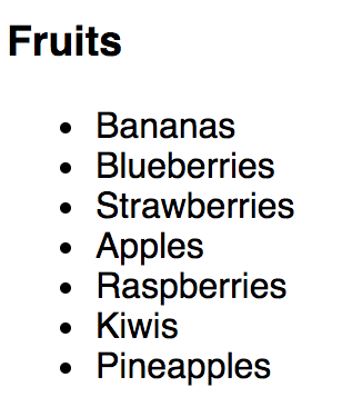 A screenshot of an unordered list of fruits