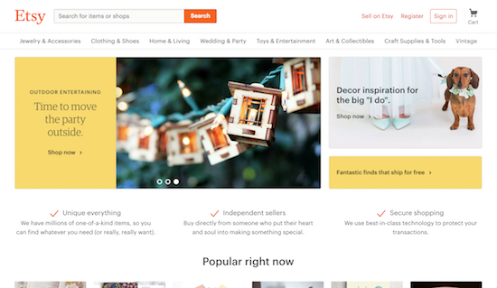 A screenshot of etsy.com