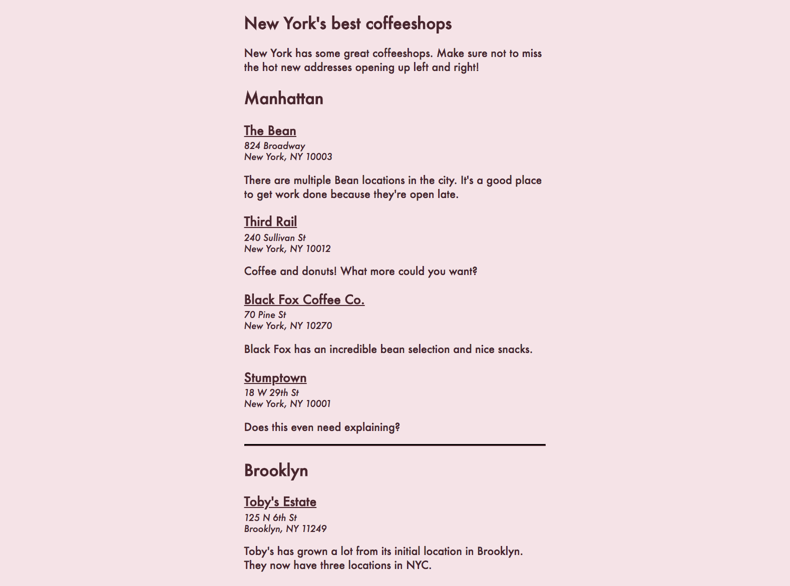 A web article with a light pink background about the coffeeshops of New York