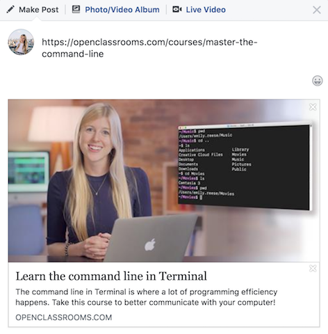 Facebook loads information about a web page into a post