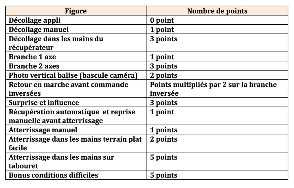 Liste des critères d'évaluation avec les points attribués pour chacun des points.