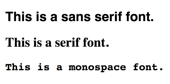 Three fonts types (serif, sans serif, and monospace) all stacked together