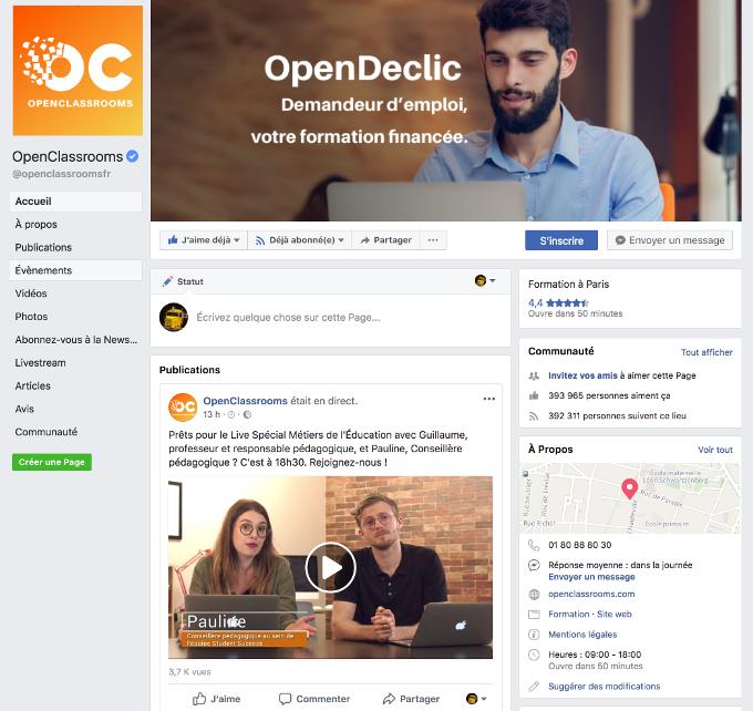 La page Facebook d'OpenClassrooms
