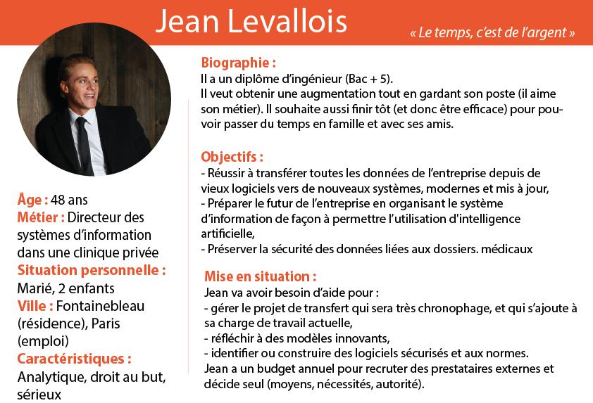 Exemple de persona, c'est-à-dire description d'un client type qui inclus son identité, ses caractéristiques, ses objectifs et une mise en situation.  Voici le texte de ce persona : Jean Levallois.