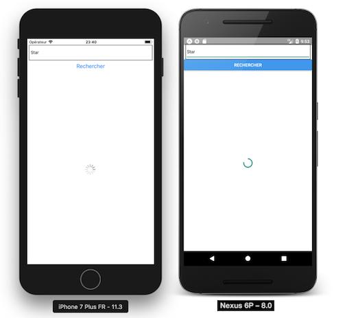 Démonstration ActivityIndicator sur iOS et Android