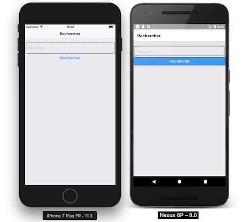 StackNavigator sur iOS et Android