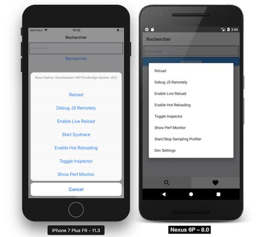 Menu Debugger React Native sur iOS et Android