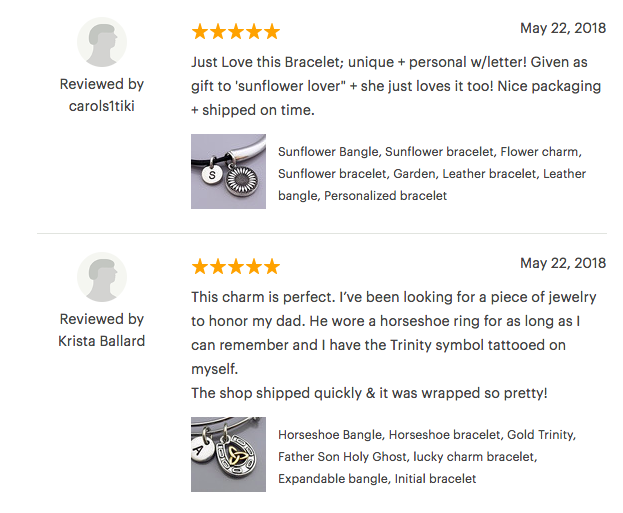 Screenshot of 2 reviews for a bracelet on Etsy that got 5 stars.
