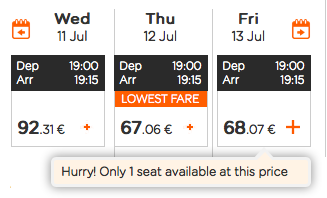 Screenshot from airline website showing three prices, but only one seat left on the best option.