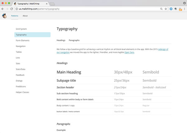 Type variations and sizes are defined in Mailchimp pattern library.